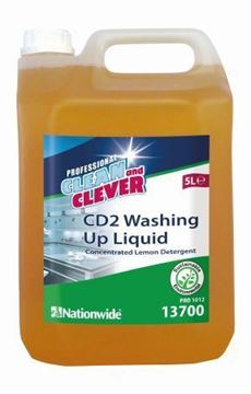 Picture of Clean and Clever Lemon Washing Up Liquid 5Ltr 13700 CD2