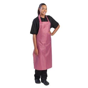 Picture of Whites Waterproof Bib Apron Red And White Stripe
