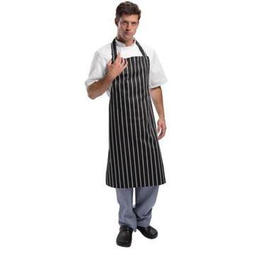 Picture of Whites Bib Apron Butchers Stripe Black