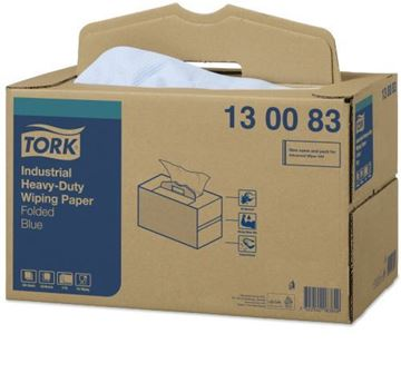 Picture of 130083 Tork Industrial Heavy-Duty Wiping Paper Blue 3ply 1x200
