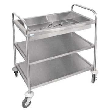 Picture of Vogue Stainless Steel 3 Tier Deep Tray Clearing Trolley