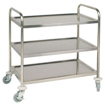 Picture of Vogue Stainless Steel 3 Tier Clearing Trolley Medium