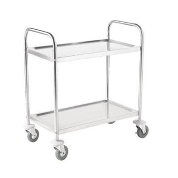 Picture of Vogue Stainless Steel 2 Tier Clearing Trolley Large
