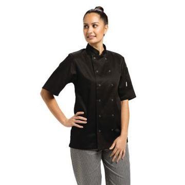 Picture of Whites Vegas Unisex Chef Jacket Short Sleeve Black - L