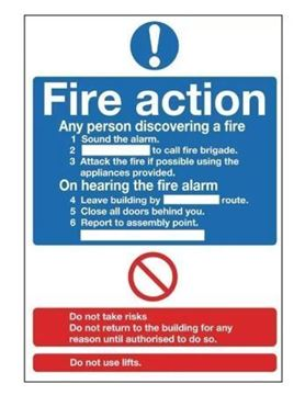 Picture of Fire Action Sign Self Adhesive. 300x200mm