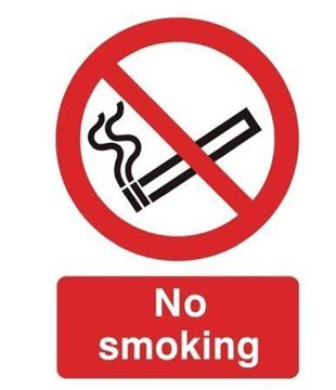 Picture of PVC No Smoking Symbol Sign Rigid PVC. 200 x 150mm