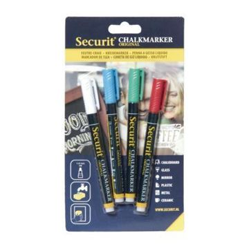 Picture of Securit 2mm Liquid Chalk Pens Assorted Colours (Pack of 4)