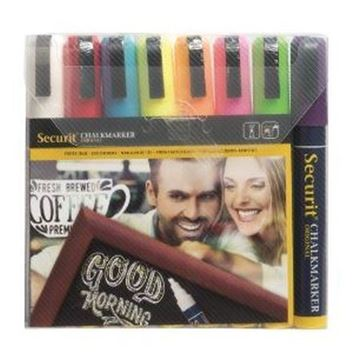 Picture of Securit Chalkmaster 6mm Liquid Chalk Pens Assorted Colours (Pack of 8)