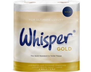 Picture of Whisper Gold White Toilet Rolls 3Ply 40 Rolls