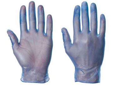 Picture of Blue Small PF Disposable Vinyl Gloves