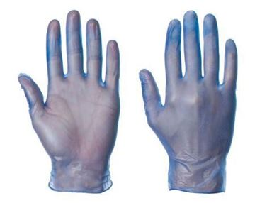 Picture of Blue Medium PF Disposable Vinyl Gloves