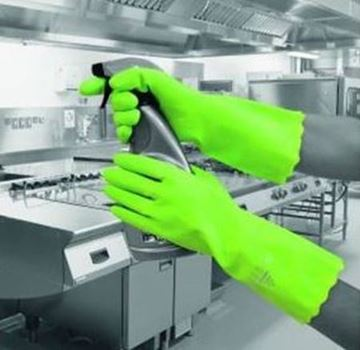 Picture of Pura PVC Flocklined Glove Green Medium x12