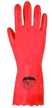 Picture of G670/09 Pura PVC Flocklined Glove Red Large 1x12