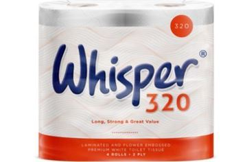 Picture of Whisper 320 White Toilet Rolls 2Ply 36 Rolls